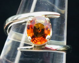Rare Natural 1.42 cts Spessartine Garnet Transparent Handmade 925 Sterling