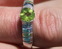 Peridot 1.17ct Solid 925 Sterling Silver Solitaire Ring, Rhodium Finish