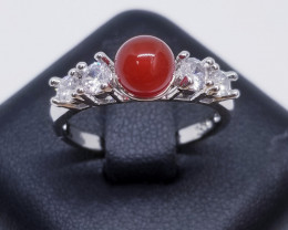 Natural Red Agaite Stainless Steel Ring With Cubic Zirconia