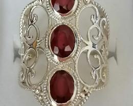 3 Stone Ruby Ring 3.59 TCW