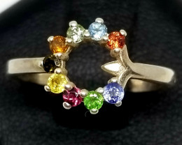 Natural Tourmaline Multi Color Fancy Silver Ring