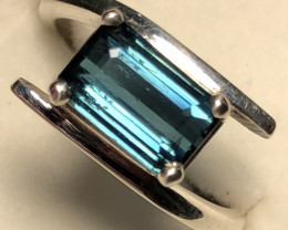 Natural Indicolite Tourmaline Hand Made 925 Silver Ring