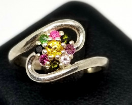 Yellow Sapphire & Fancy Multi Color Tourmaline Silver Ring