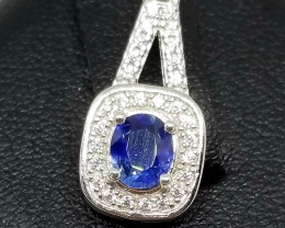 Natural Sapphire With Cubic Zirconia Stunning Eiffle Tower Silver Pendant