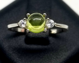 Natural Peridot Cabochon With Cubic Zirconia Stunning Silver Ring