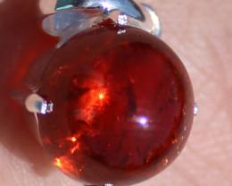 Spessartite Garnet 6.67ct, Solid 925 Sterling Silver, Pendant, Rhodium Fini