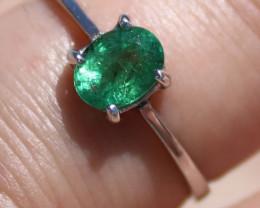Zambian Emerald .70ct Solid Sterling Silver Ring,Rhodium Finish,Natural,Ova