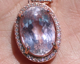 Pink Kunzite 13.15ct, Rose Gold Finish, Solid 925 Sterling Silver Pendant,