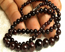 188.0 Tcw. Natural African Garnet Necklace - 19 inches