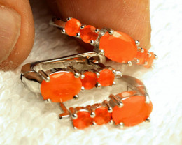 31.50 Tcw. Mexican Fire Opal Earrings and Ring - Beautiful
