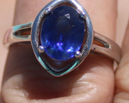 Blue Sapphire 2.16ct Solid 925 Sterling Silver Rhodium Finish Solitaire Rin