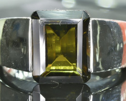 21.37 Crt Natural Tourmaline 925 Silver Ring Size 7