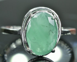 7.29 Crt Natural Emerald 925 Silver Ring Size 6