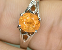 13.17 Crt Natural Spessartite 925 Silver Ring Size