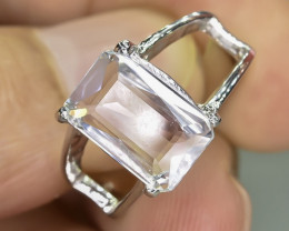 19.60 Crt Natural Aquamarine 925 Stearling  Silver Ring