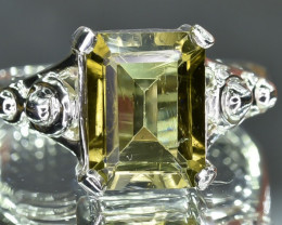19.67 Crt Natural Tourmaline 925 Stearling  Silver Ring
