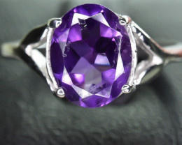 9.97 Crt Natural Amethyst 925 Silver Ring