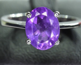 13.73 Crt Natural Amethyst 925 Silver Ring
