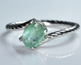 9.05 Crt Natural Emerald 925 Sterling  Silver Ring AB (01)