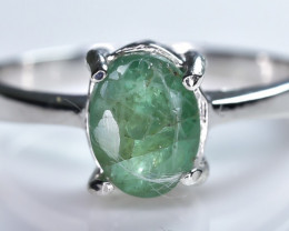 9.37 Crt Natural Emerald 925 Sterling Silver Ring AB (01)
