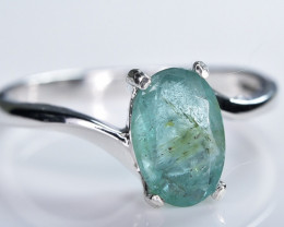 6.20 Crt Natural Emerald 925 Sterling Silver Ring AB (01)