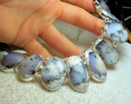 668.0 Tcw. Dendritic Opal / Sterling Silve Necklace - Gorgeous