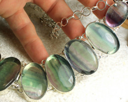 638.0 Tcw. Fluorite / Sterling Silver Necklace - Gorgeous