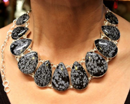 624.0 Tcw. Snowflake Obsidian / Sterling Silver Necklace - Gorgeous