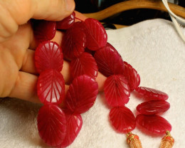 545 Tcw. Hand Carved Ruby Necklace - Gorgeous