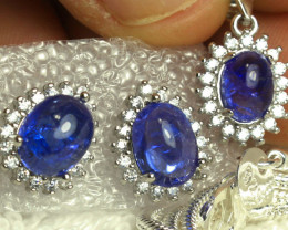 72.5 Tcw. Tanzanite Earrings + Pendant, Gold Plated Silver - Gorgeous