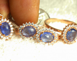 92.3 Tcw. Matched Tanzanite Earrings, Necklace, Ring, Chain - Stunning