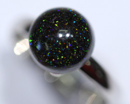 FAIRY OPAL WITH ADJUSTABLE SILVER  RING 6-8+
