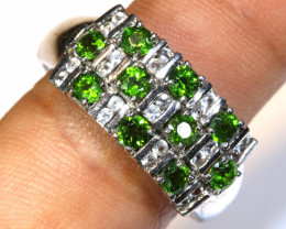 24.35CTS DIOPSIDE SILVER RING  SIZE- 8 RJ-701