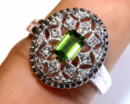 22.10 CTS DIOPSIDE SILVER RING  SIZE- 7 RJ-702