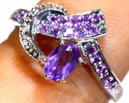 11.40 CTS AMETHYST SILVER RING   RJ-707