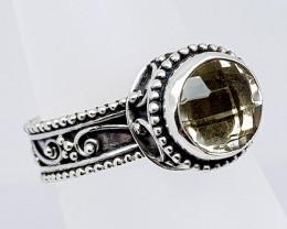 Natural Prasiolite 925 Sterling Silver Ring (JE32)