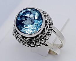Natural Swiss Blue Topaz 925 Sterling Silver (JE64)