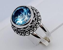 Natural Swiss Blue Topaz 925 Sterling Silver (JE65)