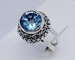 Natural Swiss Blue Topaz 925 Sterling Silver (JE66)