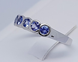 Natural Blue Tanzanian Tanzanite 925 Silver Ring (JE69)