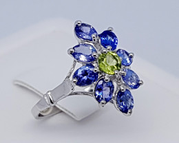 Natural Blue Tanzanite And Peridot 925 Silver Ring (JE71)