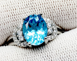 Natural Blue Topaz 20.25 Carats 925 Silver Ring