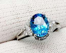 Natural Blue Topaz 19.55 Carats 925 Silver Ring