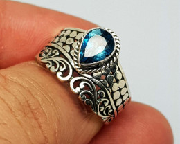 Natural London Blue Topaz 21.85 Carats 925 Silver Ring