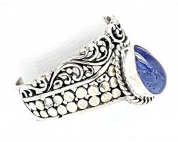 21 Carats Natural Tanzanite 925 Silver Ring Hand Made