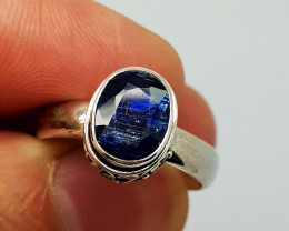 Natural Blue Kyanite 24.85 Carats 925 Silver Ring