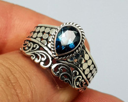 Natural London Blue Topaz 22.45 Carats 925 Silver Ring