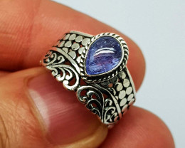 Natural Tanzanite 23.00 Carats 925 Silver Ring