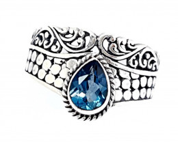 21 Carats Natural London Blue Topaz 925 Silver Ring Hand Made