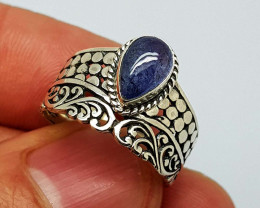 Natural Tanzanite 21.00 Carats 925 Silver Ring